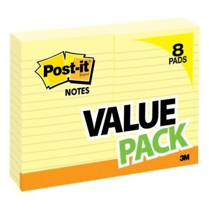 Post it Notes 4 X 6 Lined Canary Yellow Pack Of 8 Pads