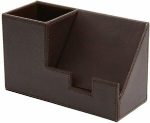 New Staples Brown Faux Leather Non skid Design Pencil Cup With Cell Phone Holder