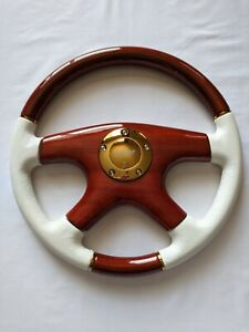 Raptor 15 White Leather Wood Grain Steering Wheel Gold