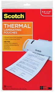 Scotch Thermal Laminating Pouch 8 9 10 X 14 2 5 Inches 3 Mil Thick Pack Of 20