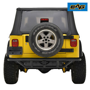 Eag Rear Bumper With Hitch Receiver Black Textured Fit 87 06 Jeep Wrangler Yj Tj