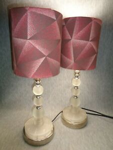 08 46 Gf Vintage Satin Glass Art Deco Machine Age Lamps W Designer Fabric Shades