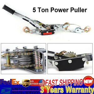 5 T Hand Come A Long Ratchet Winch Power Puller Hoist Cable Pulling Tool 3 Hooks