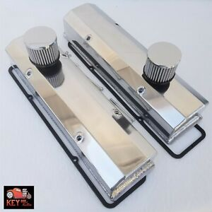 Small Block Chevy Polished Fabricated Aluminum Valve Covers 305 350 400 Breather