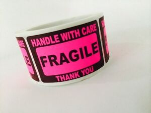 50 2x3 Fragile Stickers Handle With Care Stickers Pink Neon Fluorescent 2x3 New