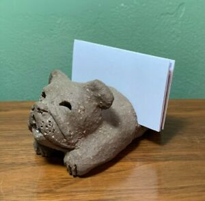 Vintage Rare Margaret Hudson Clay Bulldog Sculpture Business Card Holder Signed