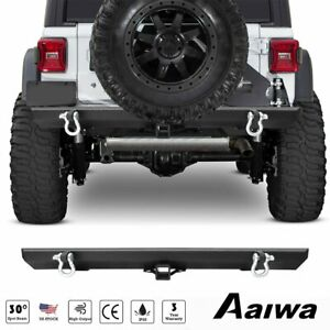 Rear Bumper With Hitch Receiver 2 D ring Off Road For 87 06 Jeep Wrangler Tj
