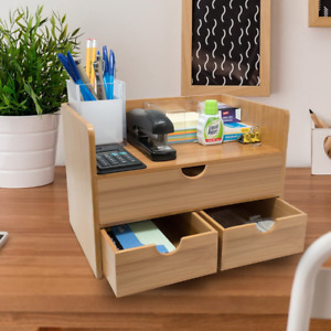Sorbus 3 tier Bamboo Shelf Organizer For Desk With Drawers Office Supplies