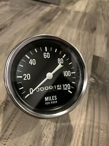 Vintage 120 Mph Speedometer Gauge Scta Hot Rod Dash Panel Trog Stewart Warner
