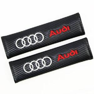 2pcs Carbon Look Embroidery Logo Seat Belt Cover Shoulder Pads For Audi