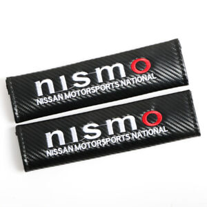2pcs Carbon Look Embroidery Logo Seat Belt Cover Shoulder Pads For Nismo Nissan