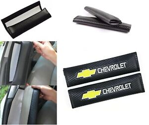 2pcs Carbon Look Embroidery Seat Belt Cover Shoulder Pads For Chevy Chevrolet