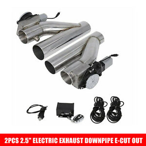 2pc 2 5 Electric Exhaust Downpipe E cut Out Valve One Controller Remote Kit