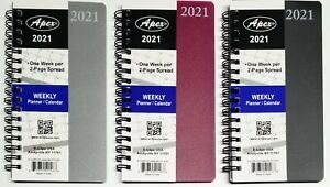2021 Weekly monthly Pocket Size Spiral Planner Vinyl Cover 3 1 2 In X 6 1 4 In