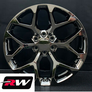 22x9 Rw Replica Black Chrome Snowflake Wheels For Cadillac Escalade Rims Set