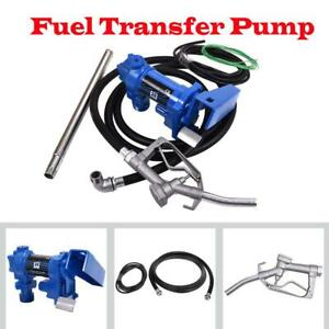12v Dc 20gpm Gasoline Fuel Transfer Pump Gas Diesel With 18 Feets Cable Line New