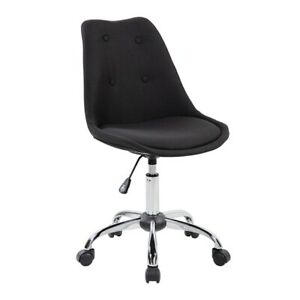 Armless Task Chair With Buttons Color Black