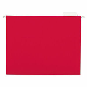 Universal Hanging File Folders 1 5 Tab 11 Point Stock Letter Red 25 box 14118