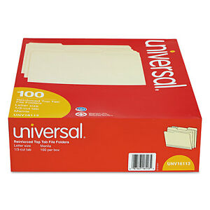 Universal File Folders 1 3 Cut Assorted Two ply Top Tab Letter Manila 100 box