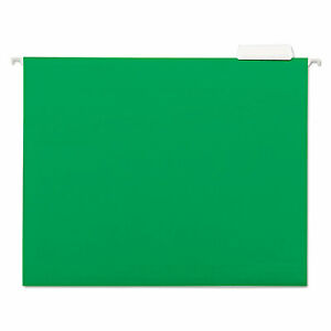 Universal Hanging File Folders 1 5 Tab 11 Point Stock Letter Green 25 box 14117