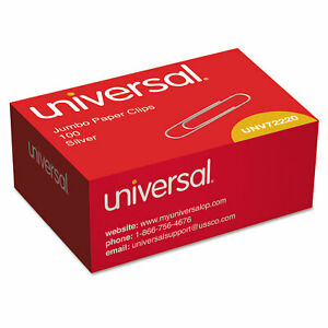 Universal Smooth Paper Clips Wire Jumbo Silver 1000 pack 72220