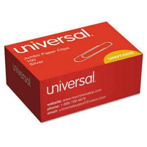 Universal Smooth Paper Clips Wire Jumbo Silver 100 box 72220bx
