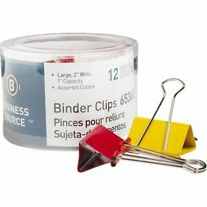 Business Source Binder Clips Large 2 w 1 Capacity 12 pk Assorted 65363