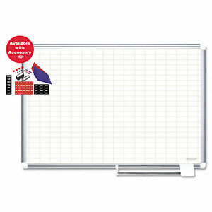 Mastervision Grid Planning Board W Accessories 1x2 Grid 36x24 White silver