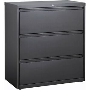 Lorell Lateral File 3 drawer 36 x18 5 8 x40 1 8 Charcoal 66207