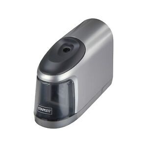 Staples Slimline Battery Operated Pencil Sharpener Silver black 17813 796619