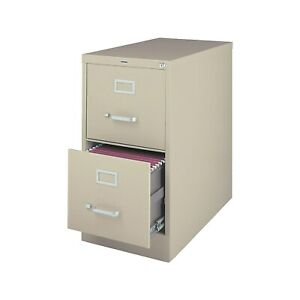 Staples 2 drawer Vertical File Cabinet Locking Letter Putty beige 26 5 d