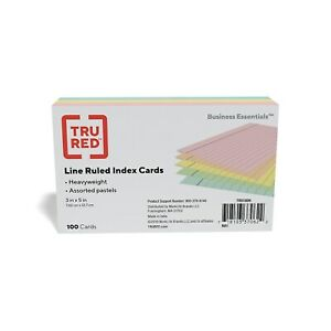 Staples Heavyweight Ruled 3 X 5 Index Cards Assorted Pastel 100 pk 51004
