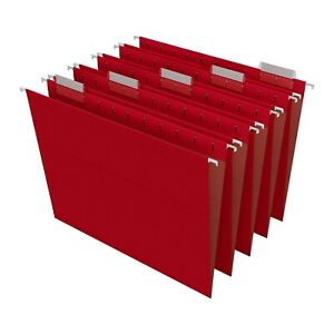 Staples Hanging File Folders 5 tab Letter Size Red 25 box 163535