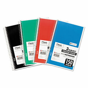 Mead Spiral Bound Notebook Perforated College Rule 9 1 2 X 6 White 150 Sheets