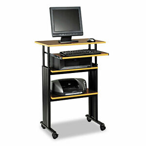Safco Adjustable Height Stand up Workstation 29w X 22d X 49h Cherry black 1929cy