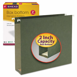 Smead 2 Capacity Box Bottom Hanging File Folders Letter Green 25 box 64259