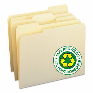 Smead 100 Recycled File Folders 1 3 Cut One ply Top Tab Letter Manila 100 box