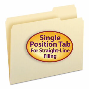 Smead File Folders 1 3 Cut Third Position One ply Top Tab Letter Manila 100 box