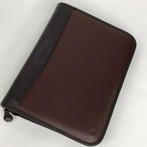 Franklin Covey Planner 7 Ring Zip Close Burgundy Faux Leather Back Pocket Flaw