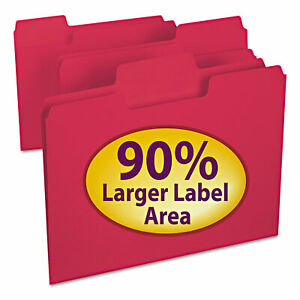 Smead Supertab Colored File Folders 1 3 Cut Letter Red 100 box 11983