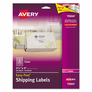 Avery Clear Easy Peel Mailing Labels Laser 3 1 3 X 4 60 pack 15664