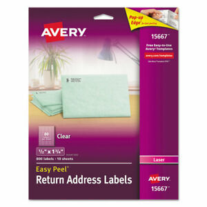 Avery Clear Easy Peel Mailing Labels Laser 1 2 X 1 3 4 800 pack 15667