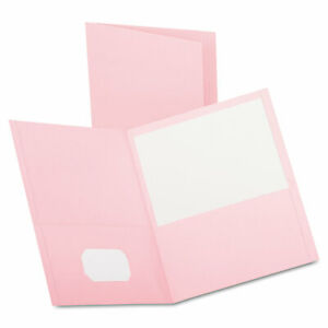 Oxford Twin pocket Folder Embossed Leather Grain Paper Pink 25 box 57568