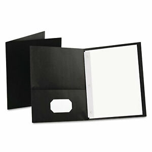 Oxford Twin pocket Folders With 3 Fasteners Letter 1 2 Capacity Black 25 box