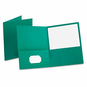 Oxford Twin pocket Folder Embossed Leather Grain Paper Teal 25 box 57555