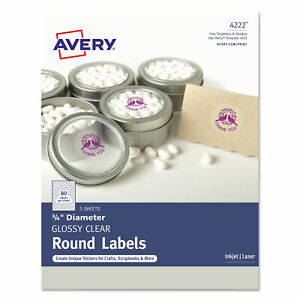 Avery Printable Self adhesive Permanent 3 4 Round Id Labels 3 4 dia Clear 400
