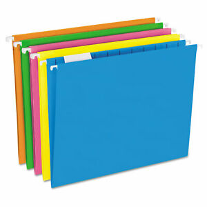 Pendaflex Glow Hanging File Folders 1 5 Tab Letter Glow Assorted 25 box 81672