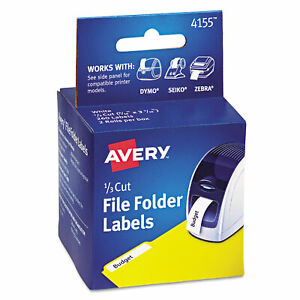 Avery Thermal Printer File Folder Labels 1 3 Cut White 130 roll 2 Rolls 4155