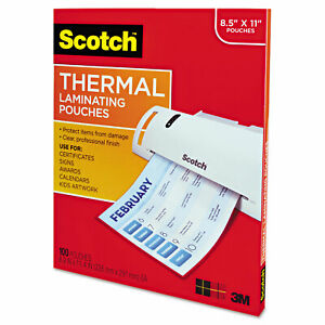Scotch Letter Size Thermal Laminating Pouches 3 Mil 11 1 2 X 9 100 Per Pack