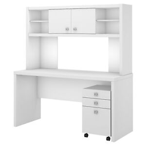 Office By Kathy Ireland Credenza Desk W hutch And Mobile File Cabinet Pure White